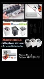 Máquina de lavar e ar condicionado