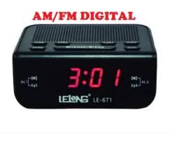 Radio Relógio Despertador Digital Elétrico Am Fm