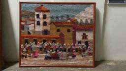 Quadro Em Lã Moldura Madeira