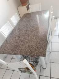 Mesa com 6 cadeiras tubular com tampo de mármore