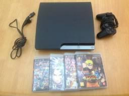 PlayStation 3 Slim 160GB com 1 Controle DualShock3 + 4 Jogos Originais - Sony PS3