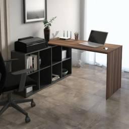 Mesa de trabalho Mesa em L Modelo Nero cor ipe com preto