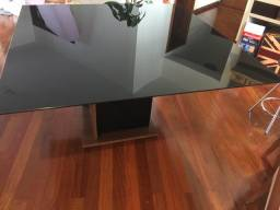 Mesa quadrada vidro preto