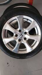 Jogo de roda 16 com pneus meia vida / honda new civic 2014 exr