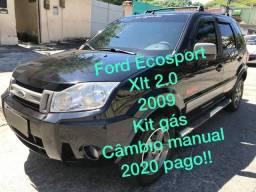 Ecosport xlt 2.0 freestyle+ kit gas, 2020 totalmente pago!, aceito cartão de crédito - 2009