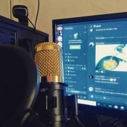 Microfone Condensador BM800 (Stream/Vídeos/Gravação) com Pop Filter e Hub de Auudio Usb
