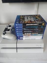PS4 - Branco 1 controle + jogos