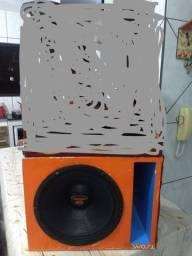 Troco auto falante de 12 cone seco com caixa e Módolo e cornetas por placa de video