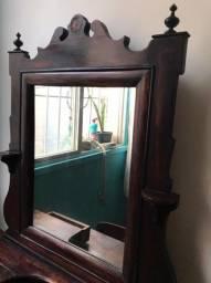 Penteadeira com Cadeira - Antiguidade em Madeira de Lei com Entalhes