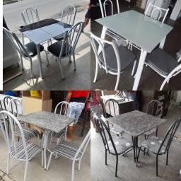 Mesas 4 cadeiras com mármore direto da fábrica novas