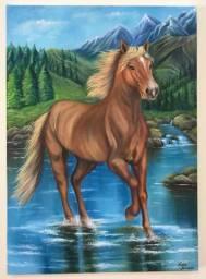 Tela figurativa de um cavalo em cenário natural pintada a óleo.