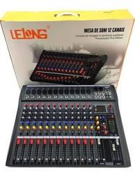 Mesa De Som 12 Canais Com Bluetooth, Efeito, Usb Le-712