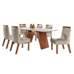 Conjunto Sala de Jantar Mesa Atena com 6 Cadeiras Atena LJ Móveis Castanho Prêmio