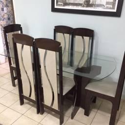 Mesa com vidro 6 cadeiras + quadro decorativo grátis!