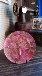 Relógio Prato de Vidro Flores