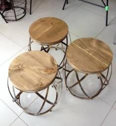 Título do anúncio: Banqueta Barril Puff Seat Industrial Ferro Artesanal Jardim