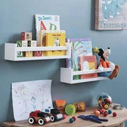 Kit com 2 Prateleiras para brinquedos/livros infantis 60cm em MDF.