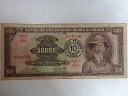 Cédula 10.000 Cruzeiros Santos Dumont C/ Carimbo 2ª Estam