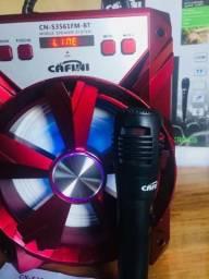 Caixa de som amplificado com Bluetooth e microfone