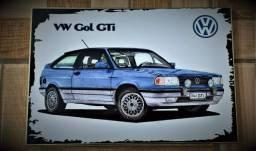 Quadro De Parede Sala Volkswagen Gol Gti Carro Antigo 30x20