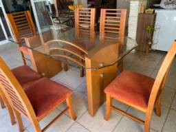 Mesa madeira e vidro 6 lugares