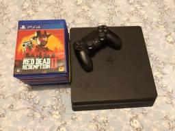 Playstation 4 FAT 512GB Completo + Controle +  8 jogos mídia física
