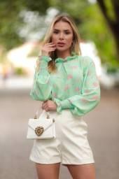Blusa Mod 89 - Verde Com Flor