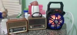 Rádio e caixa de som moldura antigas ,via Bluetooth ,cartão de memória, e lanterna!