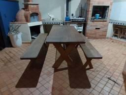 mesa churrasqueira madeira maciça com bancos