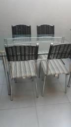 Jogo de mesa de vidro 6 cadeiras