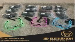 Óculos Neon Led Trasparente Festa Balada Rave Tomorrowland A Pilha