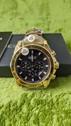 Relógio Megir 2094 Dourado Pulseira de Couro