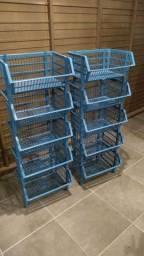 10 x Cestos Organizadores Empilhaveis 22x34x44cm