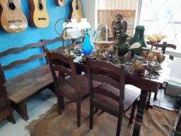 Canto alemão com mesa banco e cadeiras madeira maciça antigo