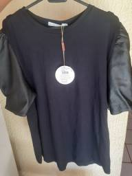 Blusa com manga de couro