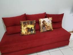 Sofa-cama Suede Vermelho