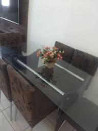 Linda mesa de madeira tampo de vidro 6 cadeiras