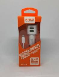 Carregador Veicular Com 2 Portas USB 3.4A e Cabo Turbo iPhone Kaidi KD-303