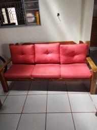 Sofá rustico de madeira em 3 peças
