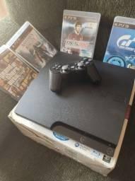 Playstation 3 Ps3 Slim Com Caxa 1 Controle 320Gb 20 jogos na memoria