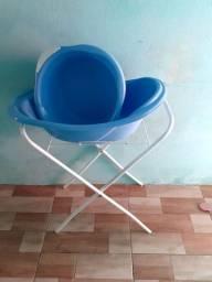 Kit banheira e bacia com suporte ,cadeira de descanso