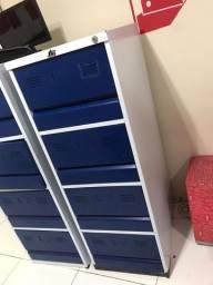 Arquivo de aço com 4 gavetas azul com cinza (semi novo)