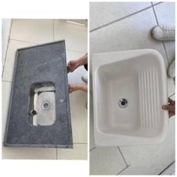 Conjunto de granito pia cozinha e tanque de cerâmica