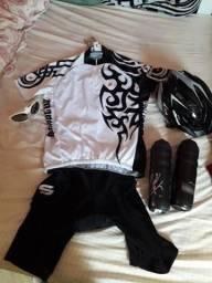 Vendo roupa ciclismo mais capacete e óculos