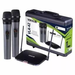 Microfone Duplo Sem Fio Profissional Uhf Vokal Vla-42 professional