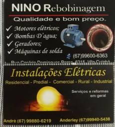 Estalacoes elétrica em geral e rebubinagem de motores elétricos em geral