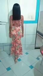Vendo vestido sereia laranja com florzinhas
