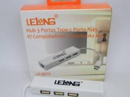 Cabo Adaptador Hub Usb Type C Rj45 3 Portas Macbook