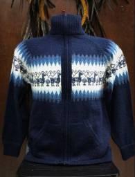 Blusa Peruana - Peça Linda - Nova!! Super Estilosa! Cor Azul Profundo