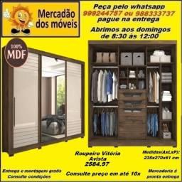 Roupeiro 3 Portas Slide 100% MDF Com Espelho 10x nos cartões(Entrega grátis)